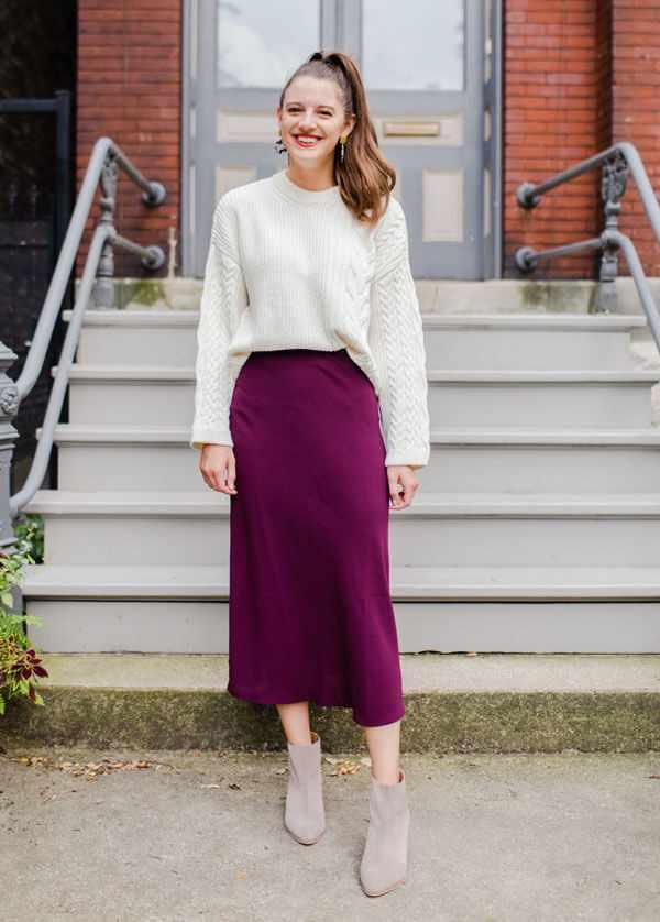 С чем носить атласную юбку осенью